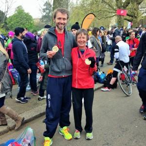 London Marathon Finish Simon Katy